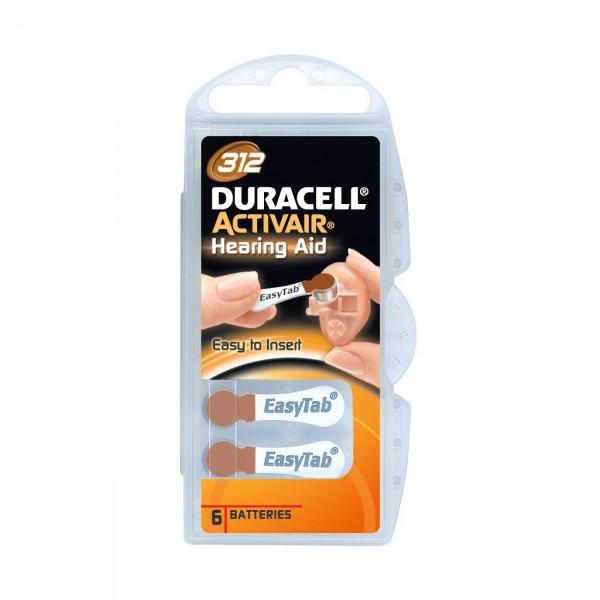6er Pack Duracell Hörgerätebatterie Activair 312 - 1,45V / 160mAh - Zink Luft Hörgeräte Batterie