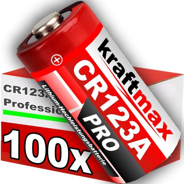 Kraftmax 100er Pack CR123 / CR123A Lithium Hochleistungs- Batterie für professionelle Anwendungen -
