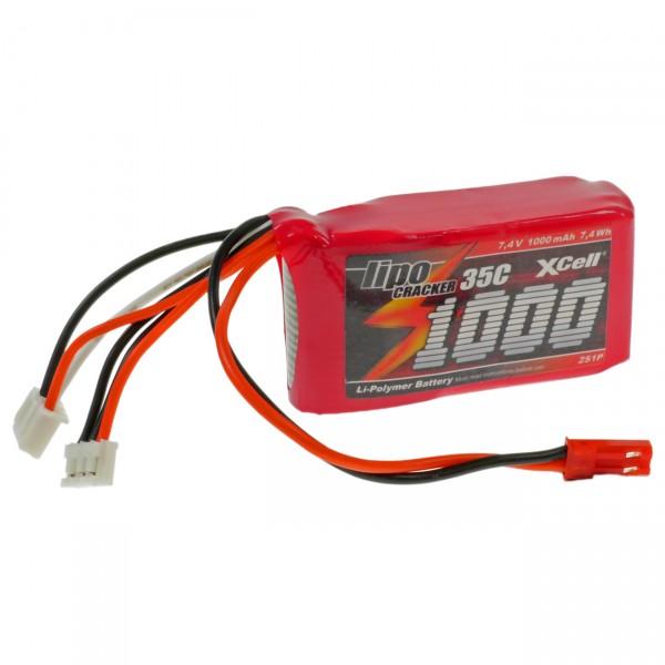 XCell LiPo Cracker Akku 2S1P - 7,4V / 1000mAh / Li-Poly - Akkupack mit BEC EHR / XH / BEC-Buchse