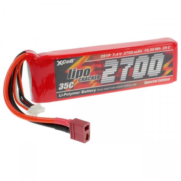 XCell LiPo Cracker - 7,4V / 2700mAh / Li-Poly - 2S1P - T-Buchse / EHR- XH- T-Buchse