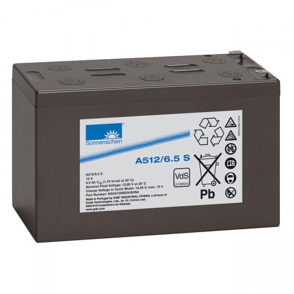 Sonnenschein Dryfit Blei-Akku - A512/6.5S - 12V / 6,5Ah - Blei Akku mit Faston 4,8mm Anschluss