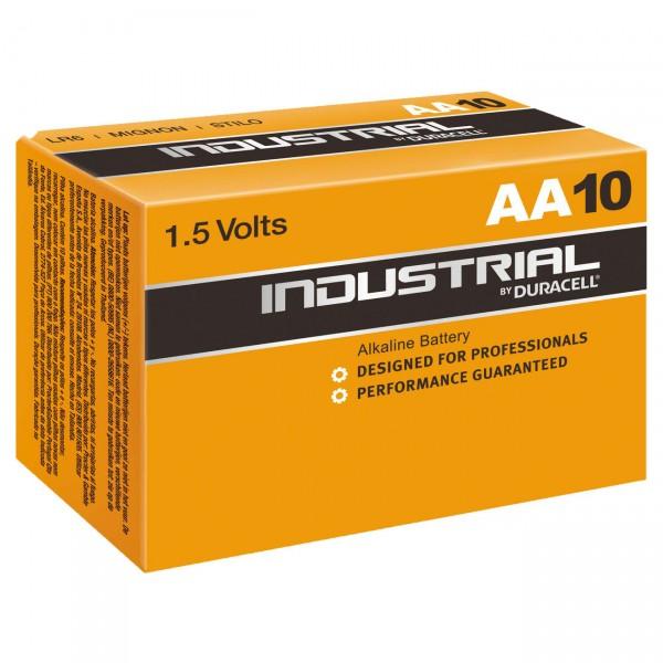 10er Pack - Duracell Industrial MN1500 Batterie - 1,5V Mignon AA LR6 Alkaline