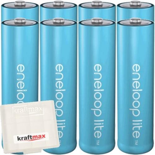 8er Pack Panasonic Eneloop Lite AA/Mignon Akkus - Neueste Generation - Hochleistungs Akku Batterien