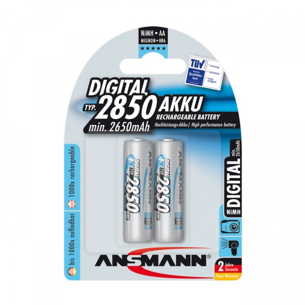 2er Blister Ansmann Akku Mignon - 1,2V / 2850mAh / NIMH - 1,2 Volt AA Ni-MH