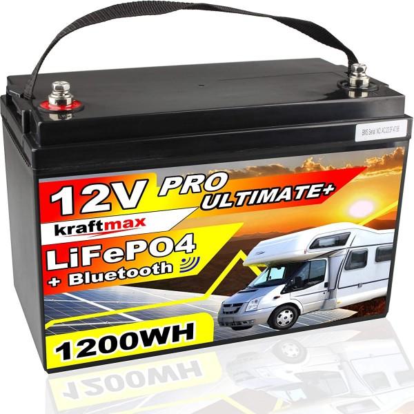 kraftmax 12V / 100AH LiFePO4 Hochleistungs- Akku inkl. Bluetooth