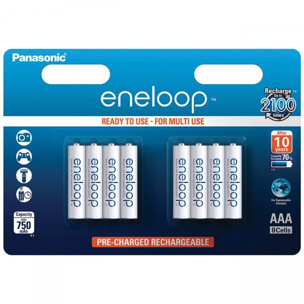8er Blister - Panasonic eneloop Micro AAA Akku - 1,2V / 800mAh Ni-MH