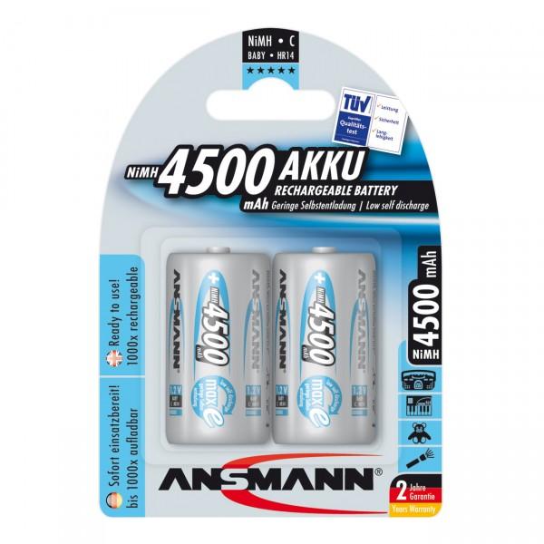 2er Blister Ansmann maxE Akku Baby C - 1,2V / 4500mAh / NIMH - 1,2 Volt Ni-MH BabyC Batterien