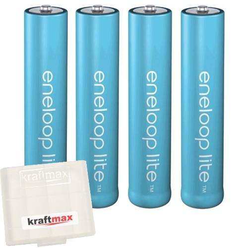4er Pack Panasonic Eneloop Lite AAA/Micro Akkus - Neueste Generation - Hochleistungs Akku Batterien-