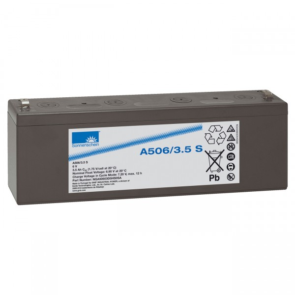 Sonnenschein Dryfit Blei - Akku - A506/3.5S - 6V / 3500mAh / Pb - Bleiakku mit Faston 4,8mm