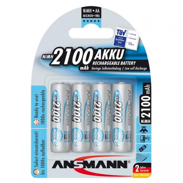 4er Blister Ansmann maxE Akku Mignon AA - 1,2V / 2100mAh / Ni-MH