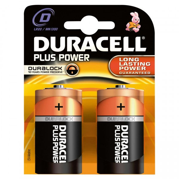 2er Blister - Duracell MN1300 Plus Power Batterie LR20 - 1,5V Mono D