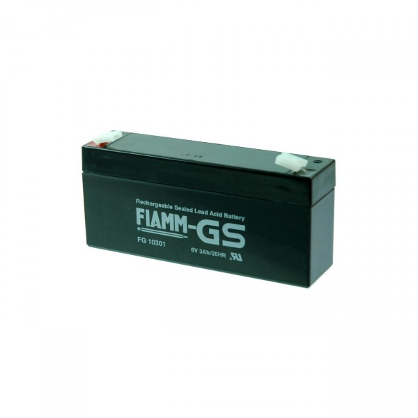 Fiamm Blei-Akku FG10301 - 6V / 3Ah / Pb - Blei Akku mit Faston 4,8mm Anschluss und VdS Zulassung