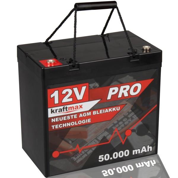Kraftmax Industrial Pro Bleiakku [ 12V / 50Ah / zyklenfest ] AGM Hochleistungs- Blei Akku der Neuste