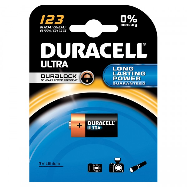 1er Blister - Duracell High Power Photobatterie CR123A - 3V / 1400mAh - Ultra Lithium Batterie