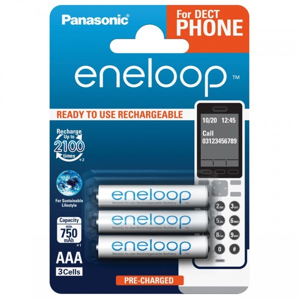 3er Blister eneloop Micro Akku - 1,2V / 800mAh / NIMH 1,2 Volt AAA Akkus für DECT Telefon