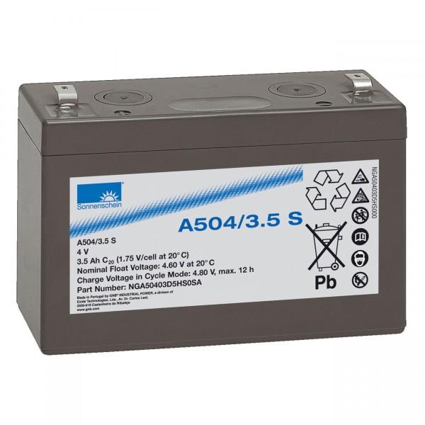 Sonnenschein Dryfit Blei-Akku A504/3.5S - 4V / 3,5Ah - Blei Akku mit Faston 4,8mm Anschluss