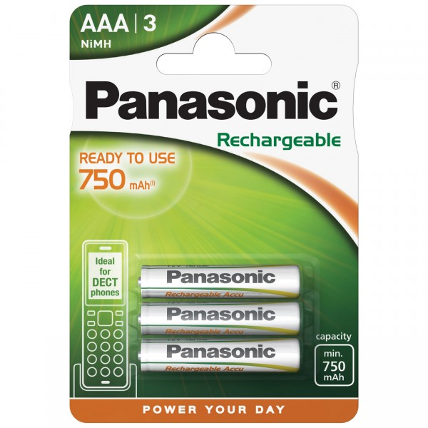 3er Blister Panasonic Ready to Use Micro Akku - HHR-4MVE - 1,2V / 750mAh NIMH - 1,2V AAA Ni-Mh