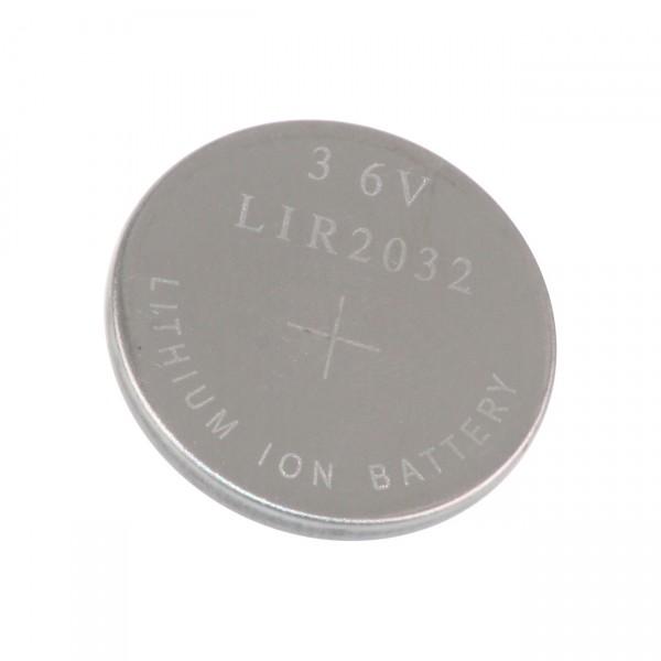 LIR2032 Li-Ion Knopfzelle Akku - 3,6V / 45mAh - 3,6 Volt Lithium Knopf Zellen Akkus