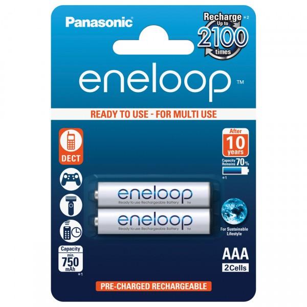2er Blister - Panasonic eneloop Micro AAA Akku - 1,2V / 800mAh / NIMH