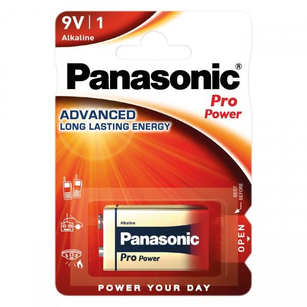 1er Blister - Panasonic Pro Power Alkaline Batterie - 9V Block 6LR61 - 9 Volt Blockbatterie
