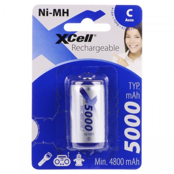 1er Blister XCell Baby C Konsumer Akku - 1,2V / 5000mAh / NIMH - 1,2 Volt Ni-MH BabyC Batterien