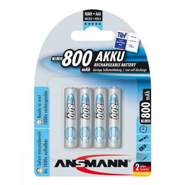 4er Blister Ansmann maxE Akku Micro - 1,2V / 800mAh / NIMH - 1,2 Volt AAA Ni-MH Akkus