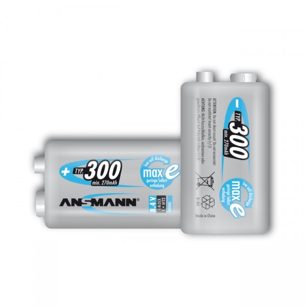 1x Ansmann maxE plus 9V Block Akku - 8,4V / 300mAh / NIMH - 8,4 Volt Ni-Mh