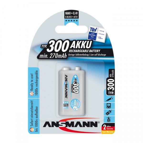 1er Blister - Ansmann maxE plus Akku - 9V / 300mAh / NIMH