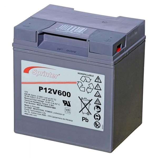 Exide Sprinter Blei-Akku - P12V600 - 12V / 24Ah / Pb - Blei Akku mit VdS Zulassung und M6 Innengewin