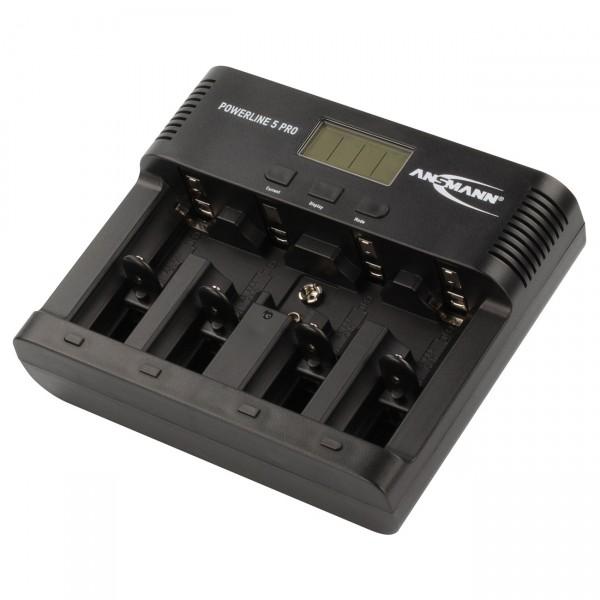Ansmann Powerline 5 Pro LCD Ladegerät mit USB-Ladeausgang