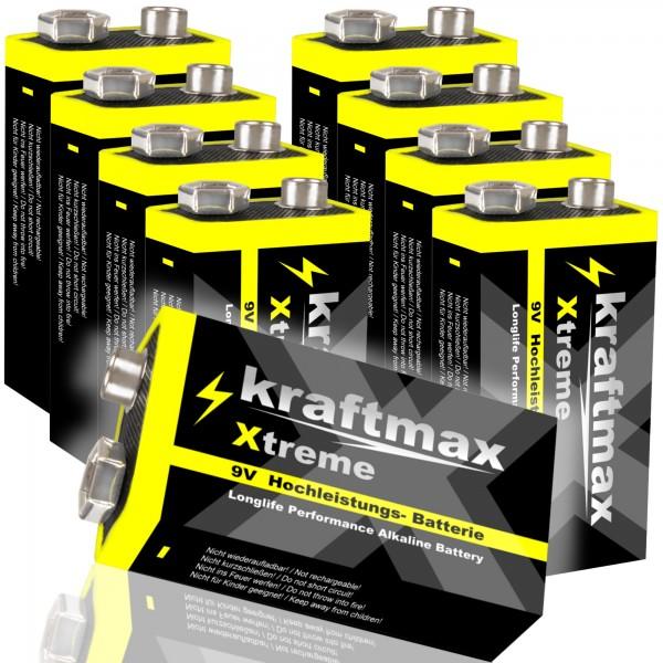 Kraftmax 8er Pack Xtreme 9V Block Hochleistungs- Batterien ideal für 10 Jahres Rauchmelder - 6LR61 9