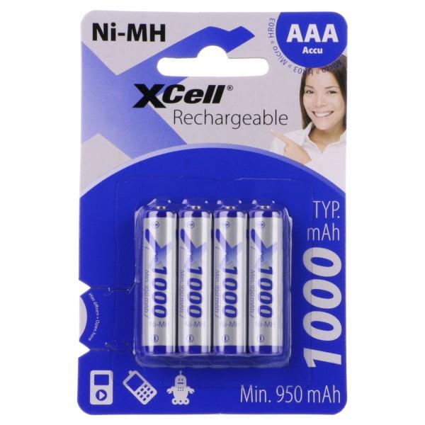 4er Blister - XCell Micro AAA Akkus - 1,2V / 1000mAh / NIMH