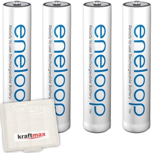 4er Pack Panasonic Eneloop AAA/Micro Akkus - Neueste Generation - Hochleistungs Akku Batterien