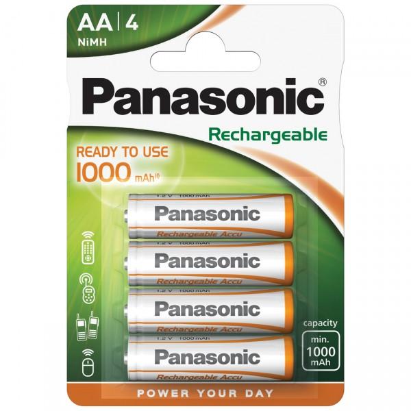 4er Blister Panasonic Ready to Use Mignon Batterie - 1,2V / 1000mAh / NIMH -1,2 Volt AA