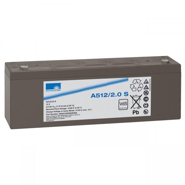 Sonnenschein Dryfit Blei-Akku - A512/2.0S - 12V / 2Ah - Faston 4,8mm / Blei Akku mit VdS Zulassung