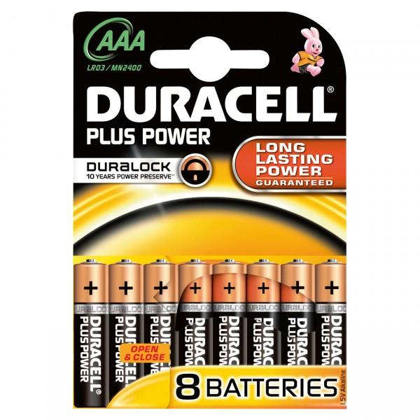 8er Blister Duracell MN2400 Plus Power 1,5V Micro Batterie - 1,5 Volt AAA Alkali Batterien