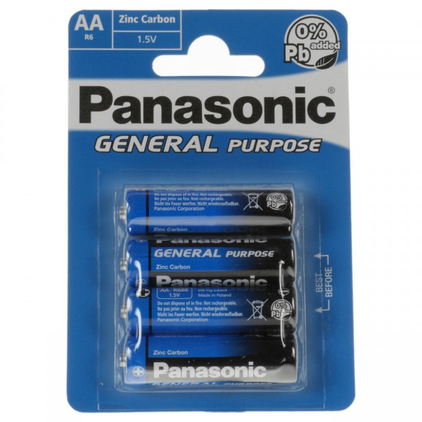 4er Blister Panasonic General Purpose 1,5V Zn/C Mignon Batterien - R6BE - 1,5 Volt AA