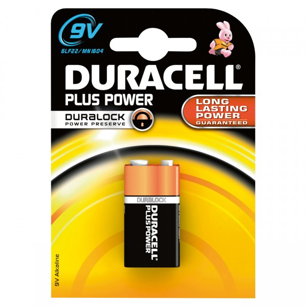1er Blister - Duracell MN1604 Plus Power Block - 9V-Block Batterie - Alkaline 6AM6 Blockbatterie