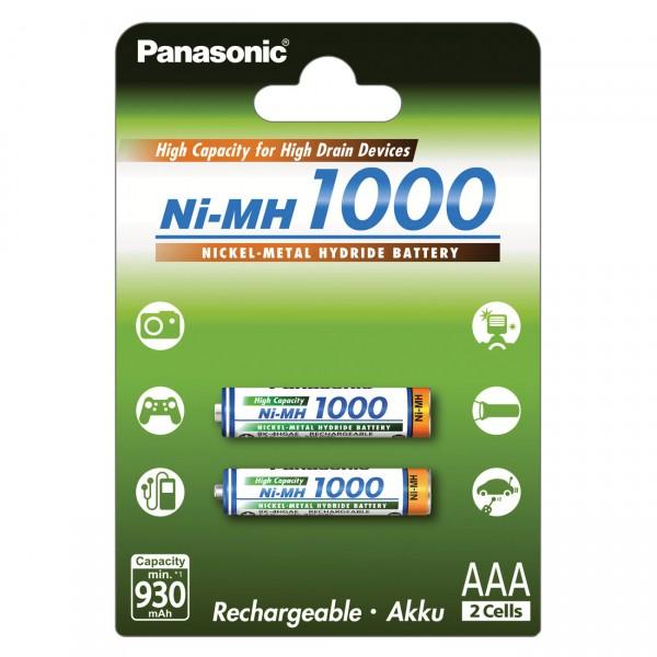 2er Blister - Panasonic Micro AAA Akkus - BK-4HGAE - 1,2V / 1000mAh / NIMH