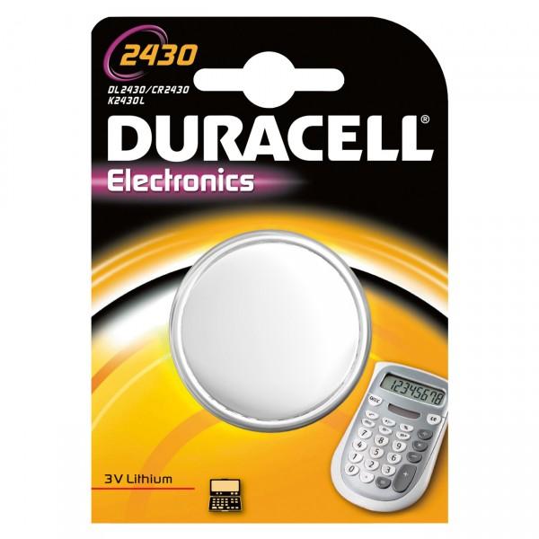 1er Blister Duracell Knopfzelle CR2430 Lithium - 3V / 256mAh - 3 Volt CR 2430 Batterie