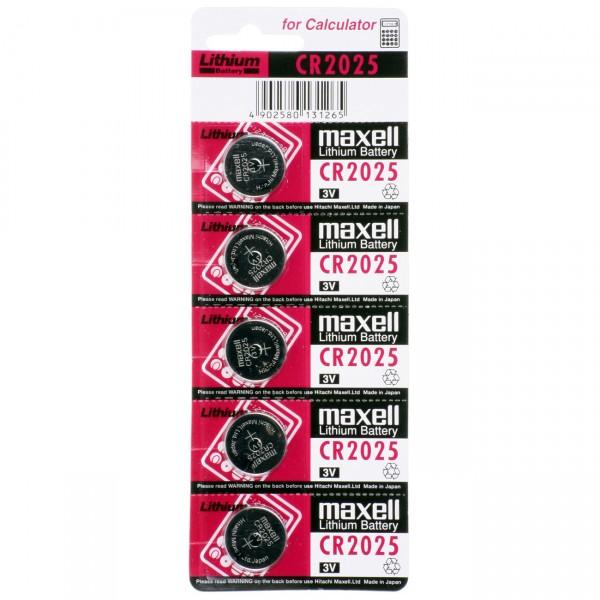 5er Blister - Maxell Lithium Batterie CR2025 - 3V / 170mAh - Lithium Knopfzelle CR 2025