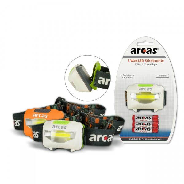 Arcas 3 Watt LED Stirnleuchte 120 Lumen inkl. 3x AAA Batterien - Stirnlampe Kopflampe Kopfleuchte