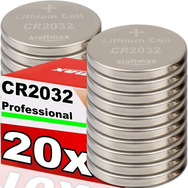 Kraftmax 20er Pack CR2032 Lithium Hochleistungs- Batterie für professionelle Anwendungen - Neuste Ge