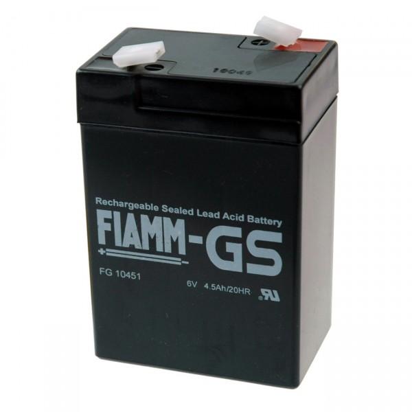 Fiamm Blei-Akku FG10451 - 6V / 4,5Ah - mit Faston 4,8mm Anschluss