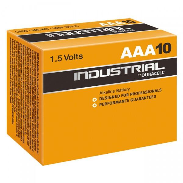10er Pack - Duracell Industrial Batterie MN2400 - 1,5V Micro AAA Alkaline