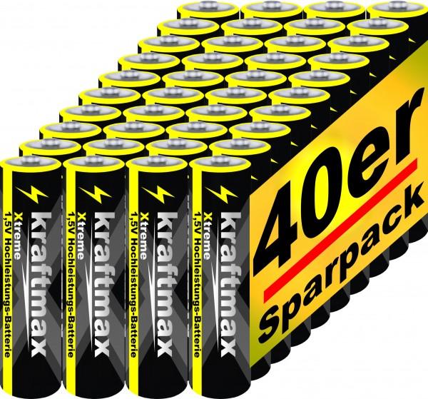 Kraftmax 40er Pack Micro AAA 1,5V Alkaline Batterie - Xtreme Industrial Longlife Performance - Hochl
