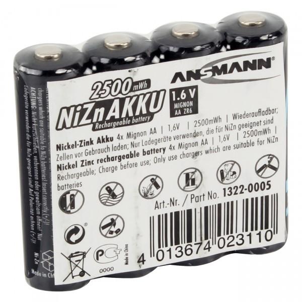 4er Pack Ansmann LR06 Mignon Akku - 1,6V / 2500mAh / NIZN - 1,6V AA NiZn Batterien