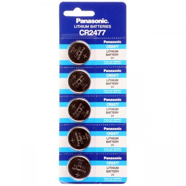 5er Blister Panasonic Lithium Knopfzelle CR2477 - 3V / 1000mAh - 3 Volt CR 2477 Batterie
