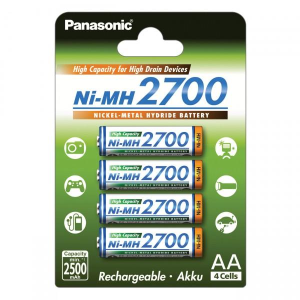 4er Blister Panasonic - Mignon AA Akku Ni-MH - 1,2V / 2700mAh