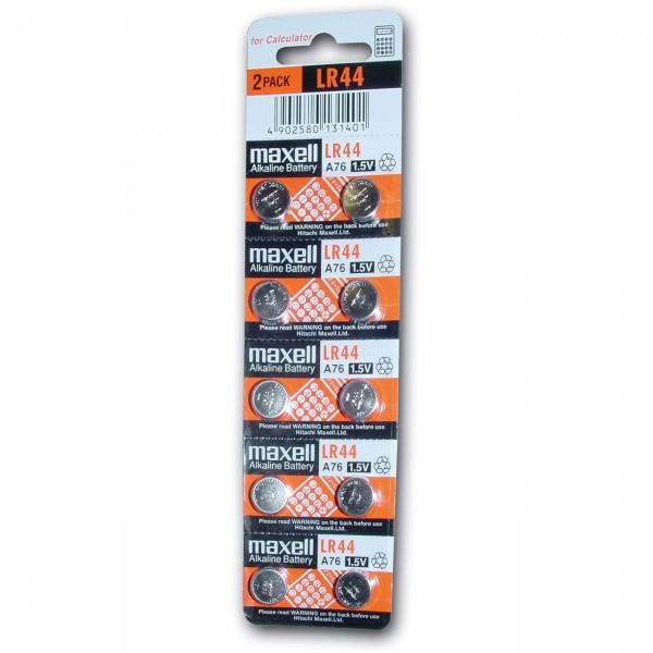 10er Blister Maxell Knopfzelle AG 13 - 1,5V / 110mAh - 1,5 Volt AG13 Alkaline Batterie